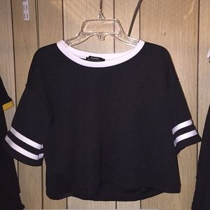 Black and White Jersey Crop Top